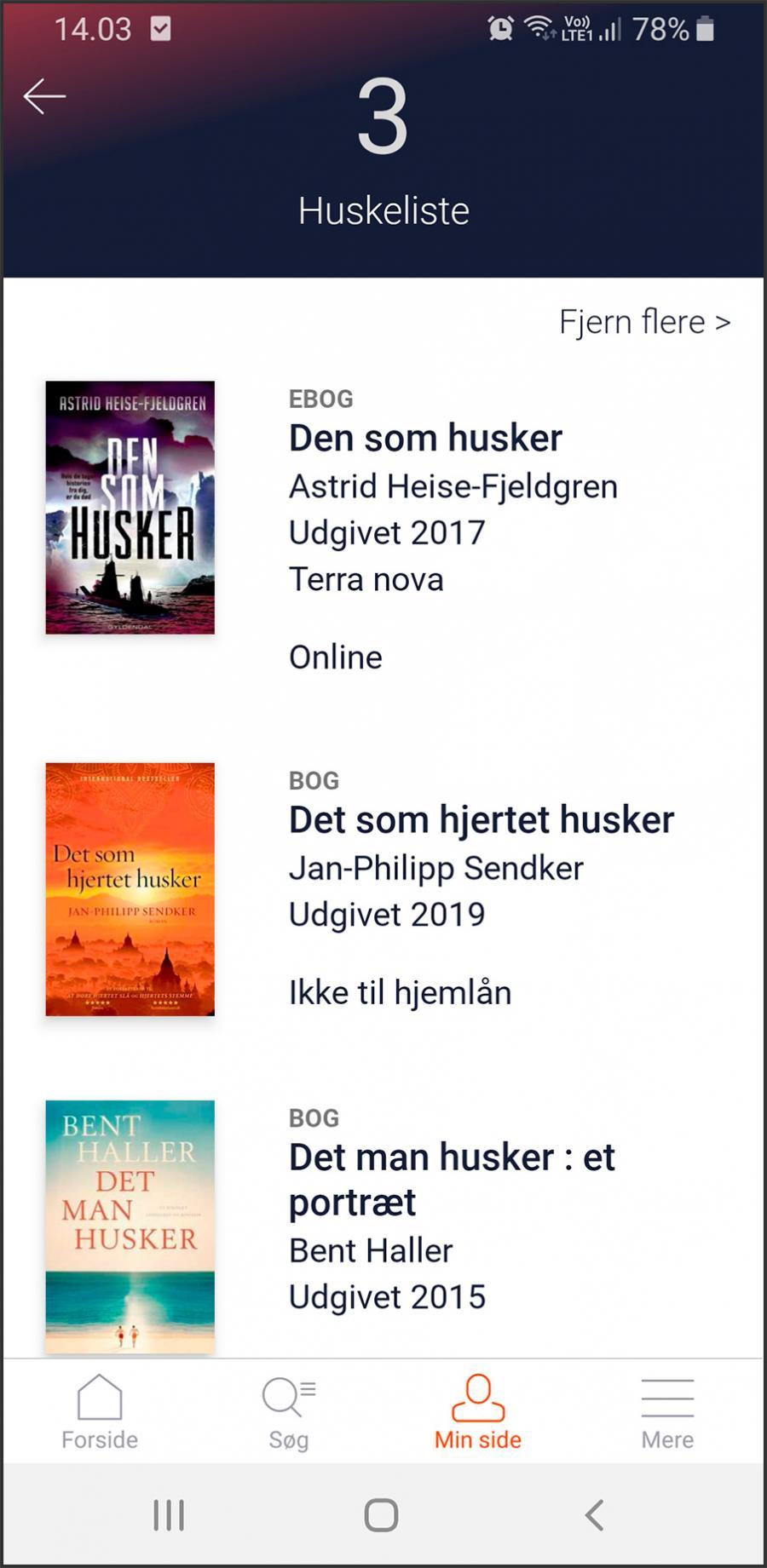 Tre bøger er tilføjet til huskelisten i app'en Biblioteket